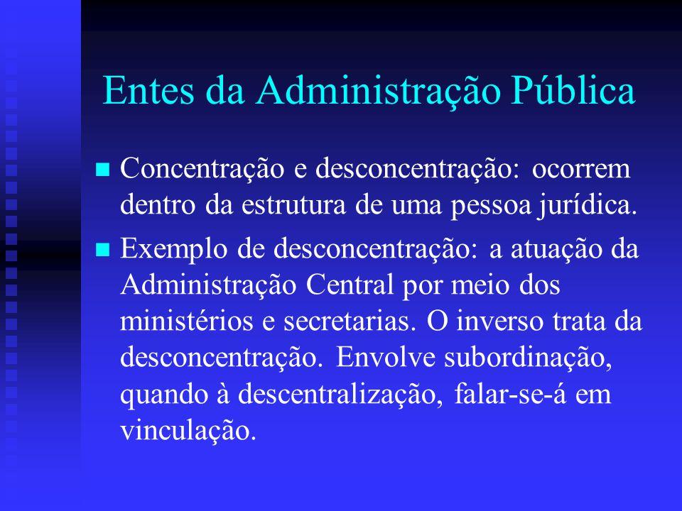 Entes da Administração Pública Concentração e desconcentração: ocorrem dentro da estrutura de uma pessoa jurídica. Exemplo de desconcentração: a atuaç