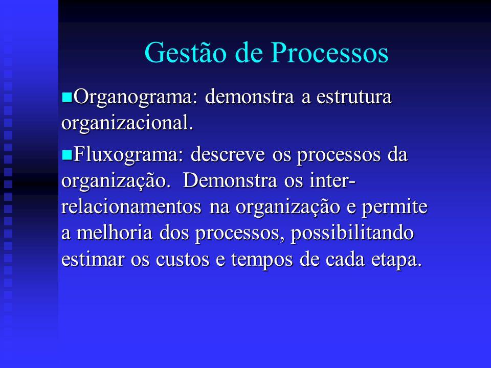 Gestão de Processos Organograma: demonstra a estrutura organizacional. Organograma: demonstra a estrutura organizacional. Fluxograma: descreve os proc