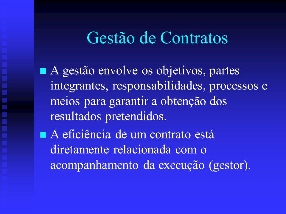 Gestão de Contratos A gestão envolve os objetivos, partes integrantes, responsabilidades, processos e meios para garantir a obtenção dos resultados pr