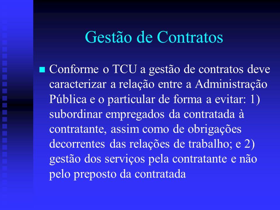Gestão de Contratos Conforme o TCU a gestão de contratos deve caracterizar a relação entre a Administração Pública e o particular de forma a evitar: 1