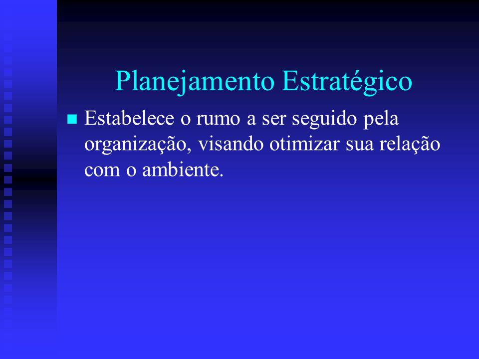 Planejamento Estratégico Estabelece o rumo a ser seguido pela organização, visando otimizar sua relação com o ambiente.
