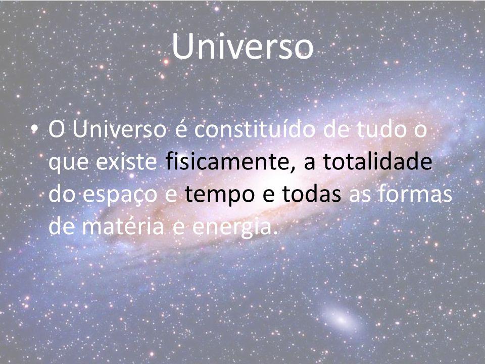Universo O Universo é constituído de tudo o que existe fisicamente, a totalidade do espaço e tempo e todas as formas de matéria e energia.