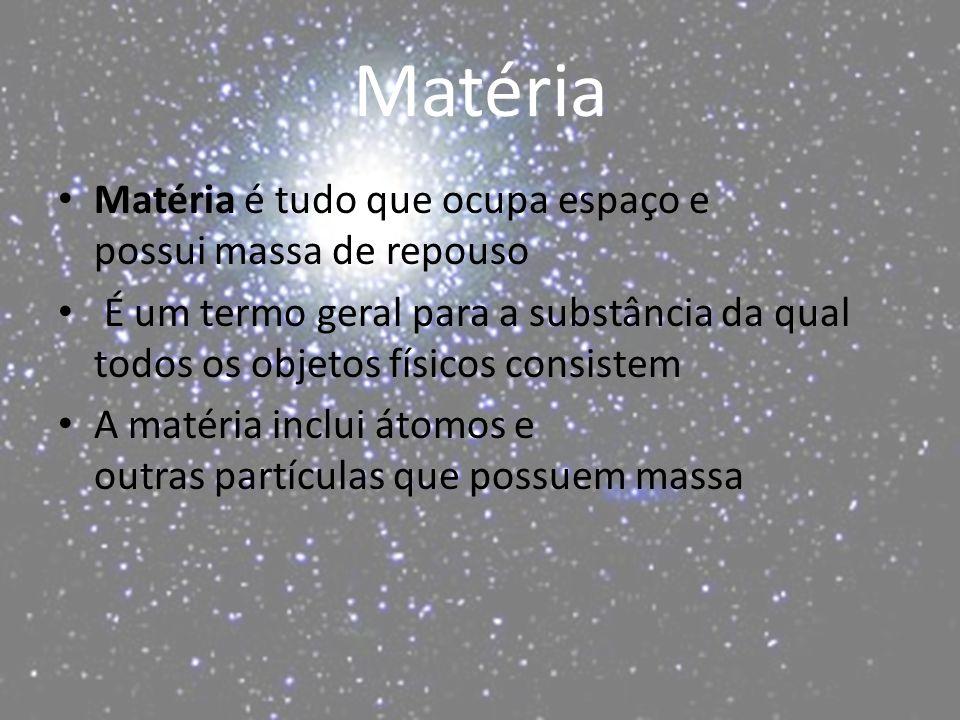 Matéria Matéria é tudo que ocupa espaço e possui massa de repouso É um termo geral para a substância da qual todos os objetos físicos consistem A matéria inclui átomos e outras partículas que possuem massa