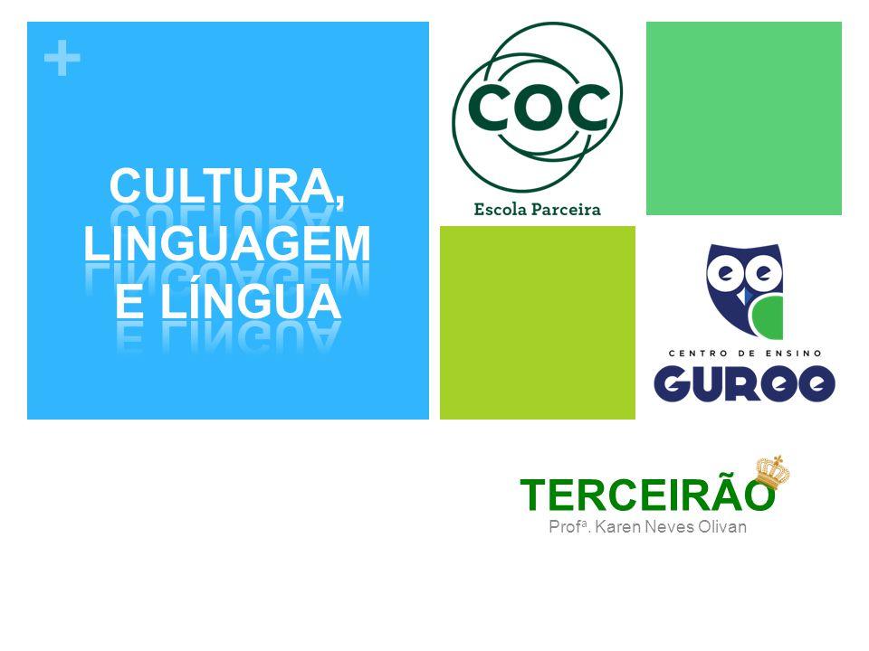 + A língua é parte essencial da linguagem e representa um sistema formado por códigos compartilhados pelas pessoas de um mesma comunidade.