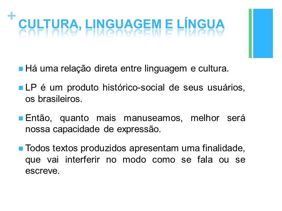 + Há uma relação direta entre linguagem e cultura. LP é um produto histórico-social de seus usuários, os brasileiros. Então, quanto mais manuseamos, m