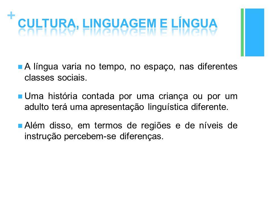 + A língua varia no tempo, no espaço, nas diferentes classes sociais. Uma história contada por uma criança ou por um adulto terá uma apresentação ling