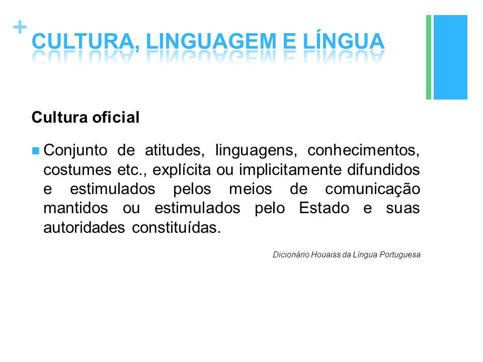 + Cultura oficial Conjunto de atitudes, linguagens, conhecimentos, costumes etc., explícita ou implicitamente difundidos e estimulados pelos meios de