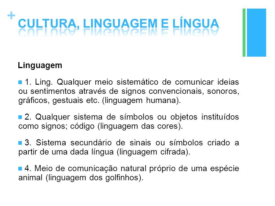 + Linguagem 1. Ling. Qualquer meio sistemático de comunicar ideias ou sentimentos através de signos convencionais, sonoros, gráficos, gestuais etc. (l