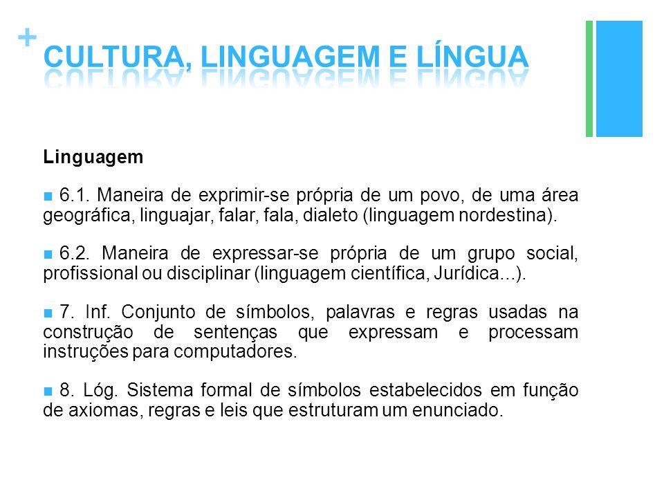 + Linguagem 6.1. Maneira de exprimir-se própria de um povo, de uma área geográfica, linguajar, falar, fala, dialeto (linguagem nordestina). 6.2. Manei