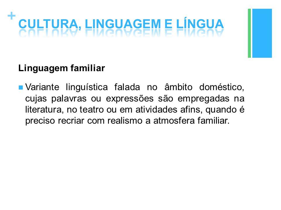 + Linguagem familiar Variante linguística falada no âmbito doméstico, cujas palavras ou expressões são empregadas na literatura, no teatro ou em ativi
