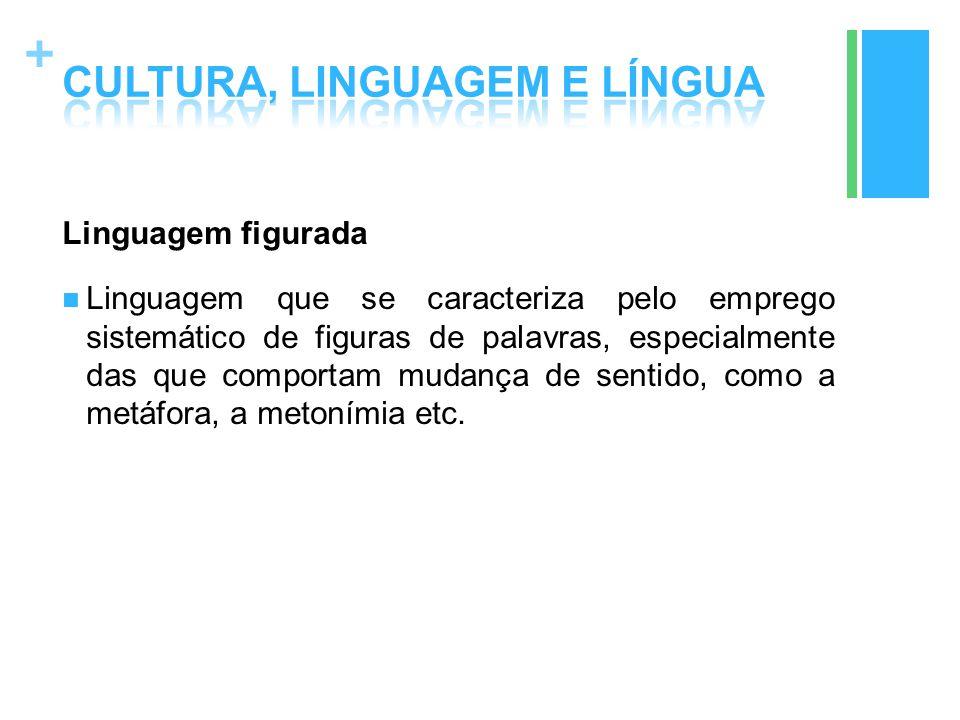 + Linguagem figurada Linguagem que se caracteriza pelo emprego sistemático de figuras de palavras, especialmente das que comportam mudança de sentido,