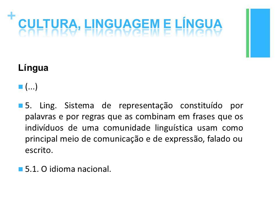 + Língua (...) 5. Ling. Sistema de representação constituído por palavras e por regras que as combinam em frases que os indivíduos de uma comunidade l