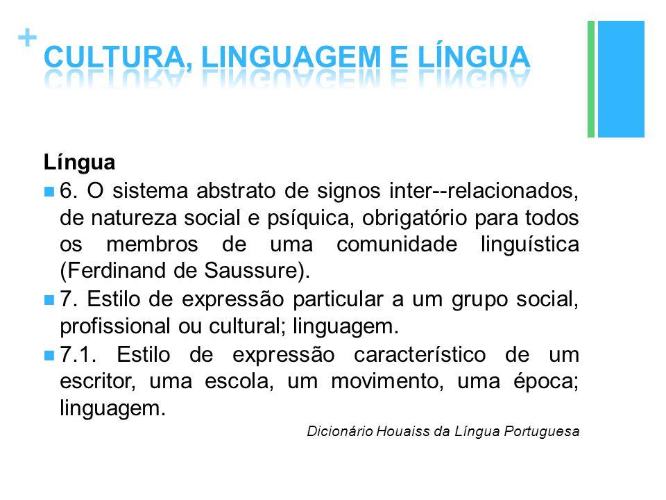 + Língua 6. O sistema abstrato de signos inter--relacionados, de natureza social e psíquica, obrigatório para todos os membros de uma comunidade lingu
