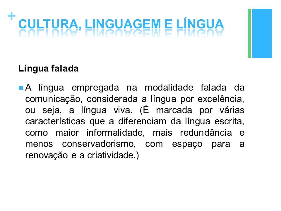 + Língua falada A língua empregada na modalidade falada da comunicação, considerada a língua por excelência, ou seja, a língua viva. (É marcada por vá