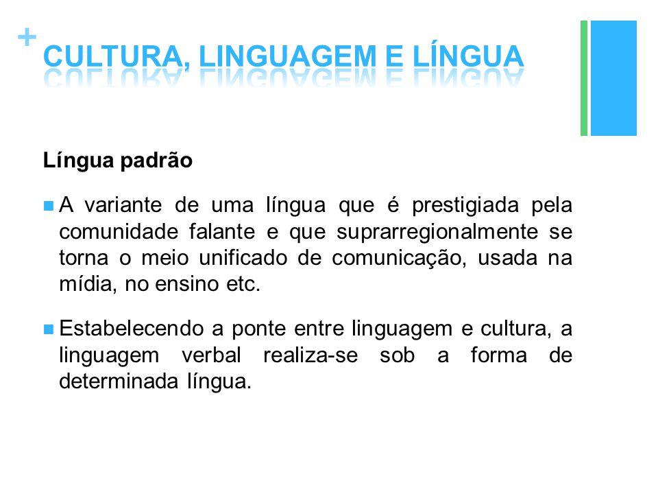 + Língua padrão A variante de uma língua que é prestigiada pela comunidade falante e que suprarregionalmente se torna o meio unificado de comunicação,