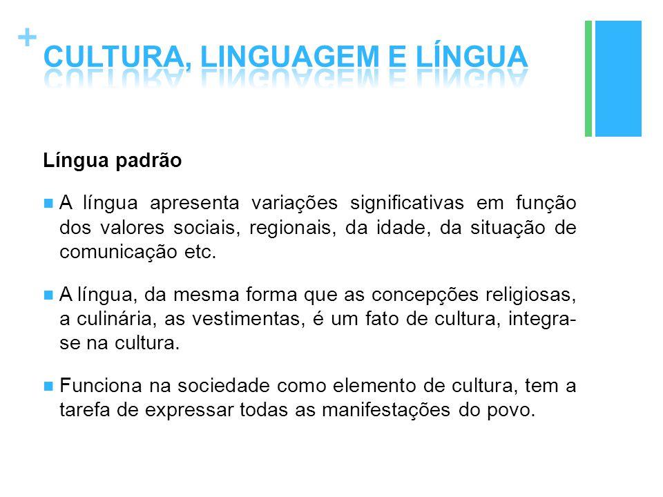 + Língua padrão A língua apresenta variações significativas em função dos valores sociais, regionais, da idade, da situação de comunicação etc. A líng