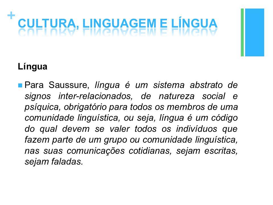 + Língua Para Saussure, língua é um sistema abstrato de signos inter-relacionados, de natureza social e psíquica, obrigatório para todos os membros de