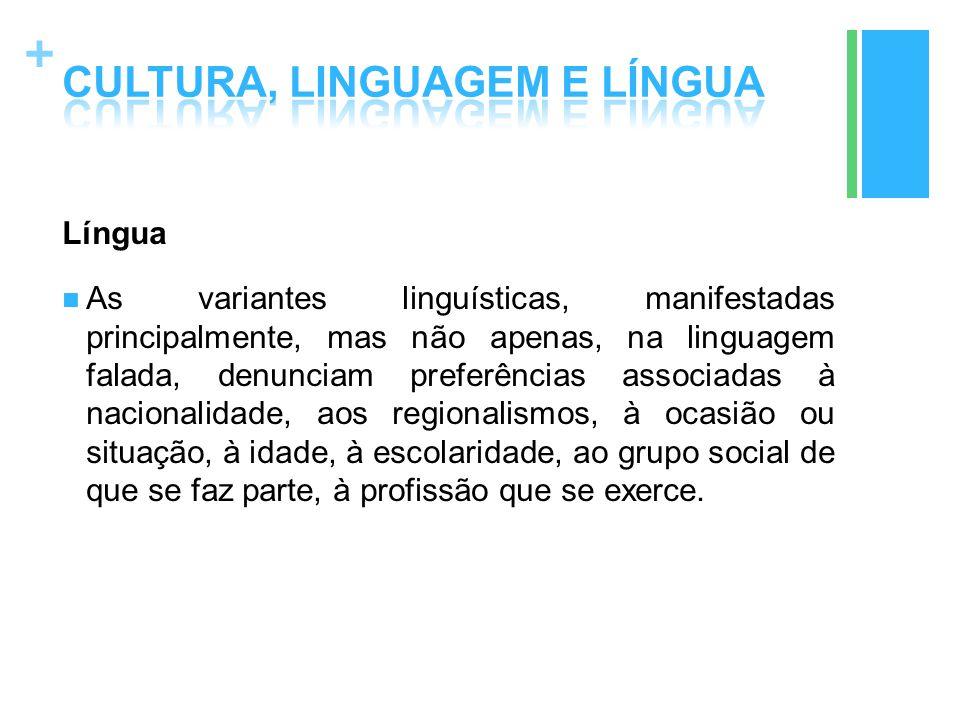 + Língua As variantes linguísticas, manifestadas principalmente, mas não apenas, na linguagem falada, denunciam preferências associadas à nacionalidad
