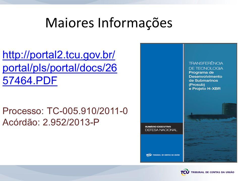 Maiores Informações http://portal2.tcu.gov.br/ portal/pls/portal/docs/26 57464.PDF Processo: TC-005.910/2011-0 Acórdão: 2.952/2013-P