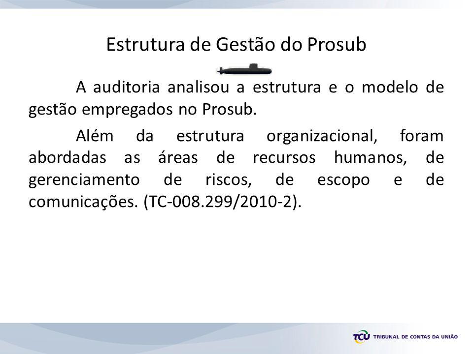 Estrutura de Gestão do Prosub A auditoria analisou a estrutura e o modelo de gestão empregados no Prosub.
