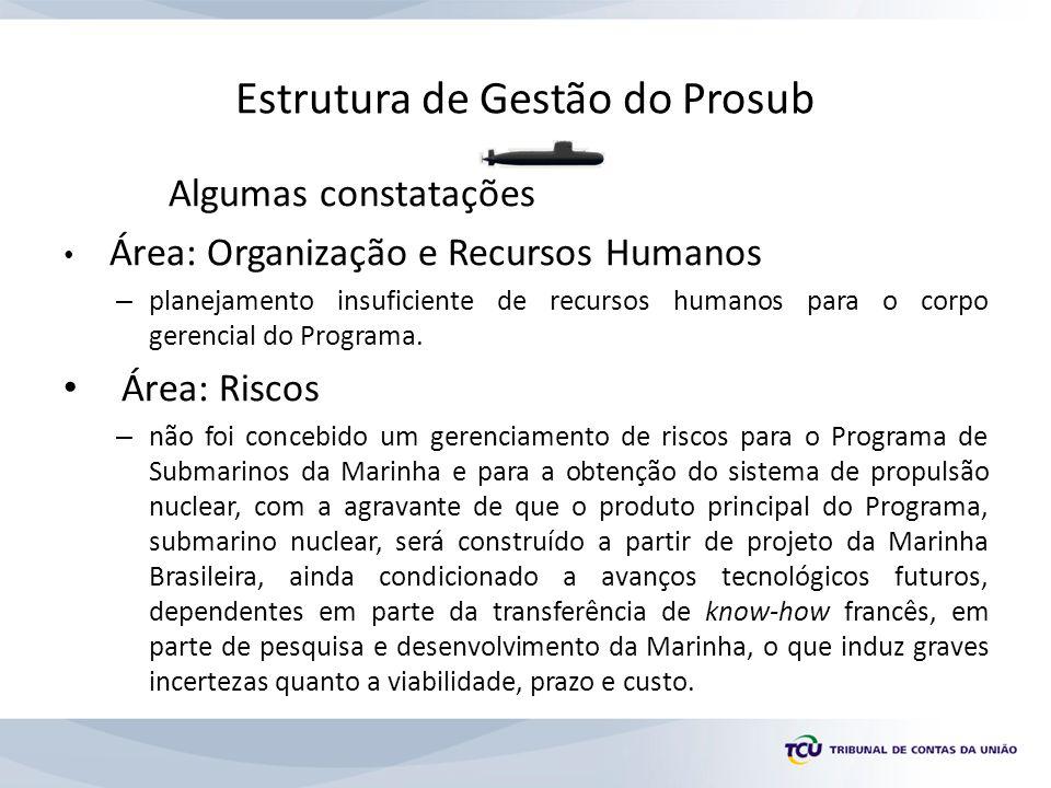 Estrutura de Gestão do Prosub Algumas constatações Área: Organização e Recursos Humanos – planejamento insuficiente de recursos humanos para o corpo gerencial do Programa.