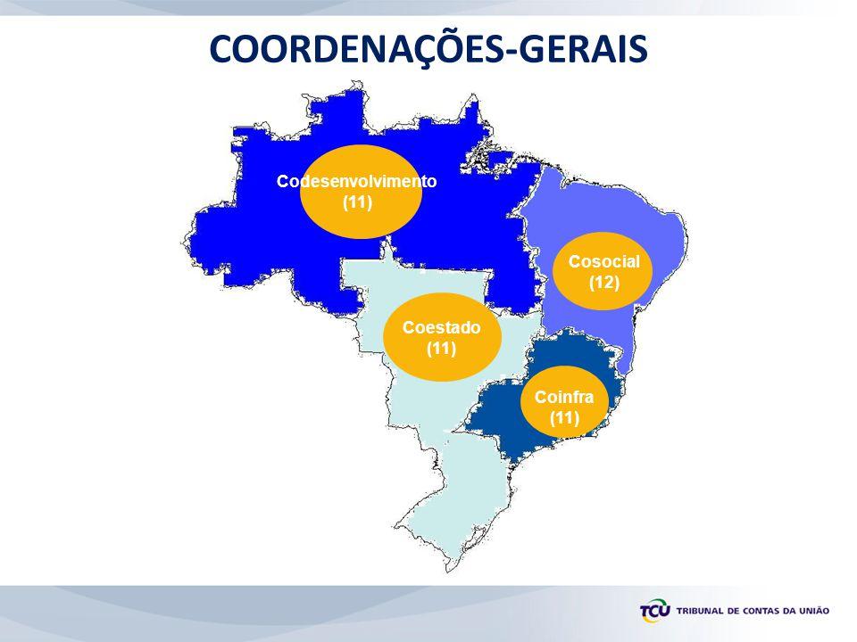 Coestado (11) Cosocial (12) Codesenvolvimento (11) Coinfra (11) COORDENAÇÕES-GERAIS