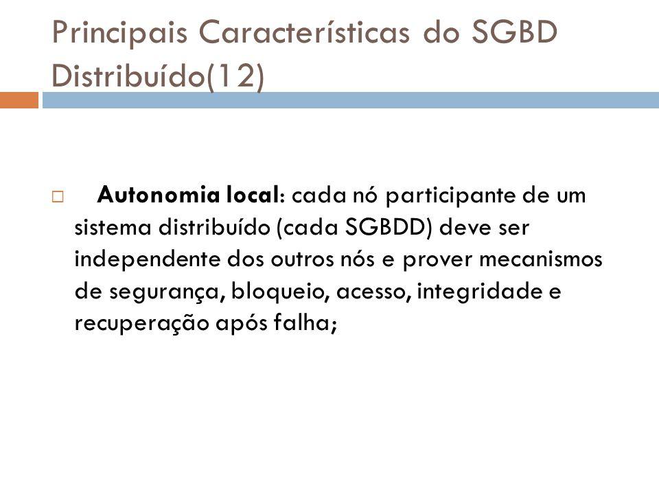 Principais Características do SGBD Distribuído(12)  Autonomia local: cada nó participante de um sistema distribuído (cada SGBDD) deve ser independent