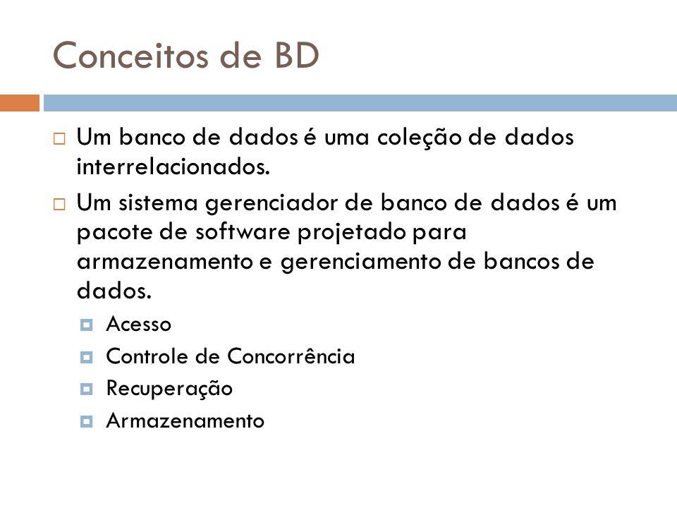 Conceitos de BD  Um banco de dados é uma coleção de dados interrelacionados.  Um sistema gerenciador de banco de dados é um pacote de software proje