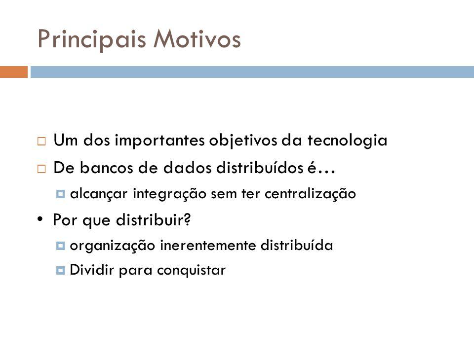 Principais Motivos  Um dos importantes objetivos da tecnologia  De bancos de dados distribuídos é…  alcançar integração sem ter centralização Por q