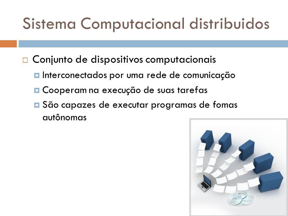 Sistema Computacional distribuidos  Conjunto de dispositivos computacionais  Interconectados por uma rede de comunicação  Cooperam na execução de s