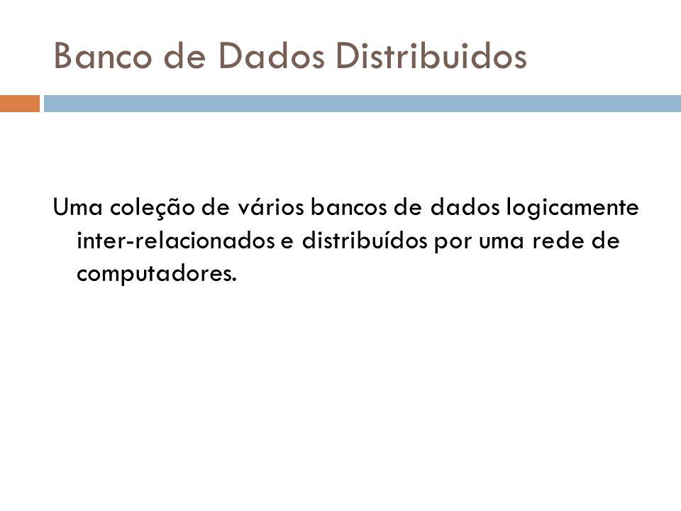 Banco de Dados Distribuidos Uma coleção de vários bancos de dados logicamente inter-relacionados e distribuídos por uma rede de computadores.
