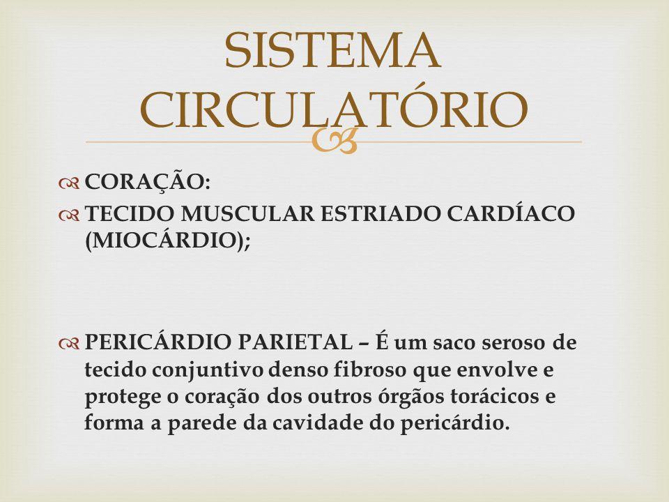   CORAÇÃO:  TECIDO MUSCULAR ESTRIADO CARDÍACO (MIOCÁRDIO);  PERICÁRDIO PARIETAL – É um saco seroso de tecido conjuntivo denso fibroso que envolve e protege o coração dos outros órgãos torácicos e forma a parede da cavidade do pericárdio.