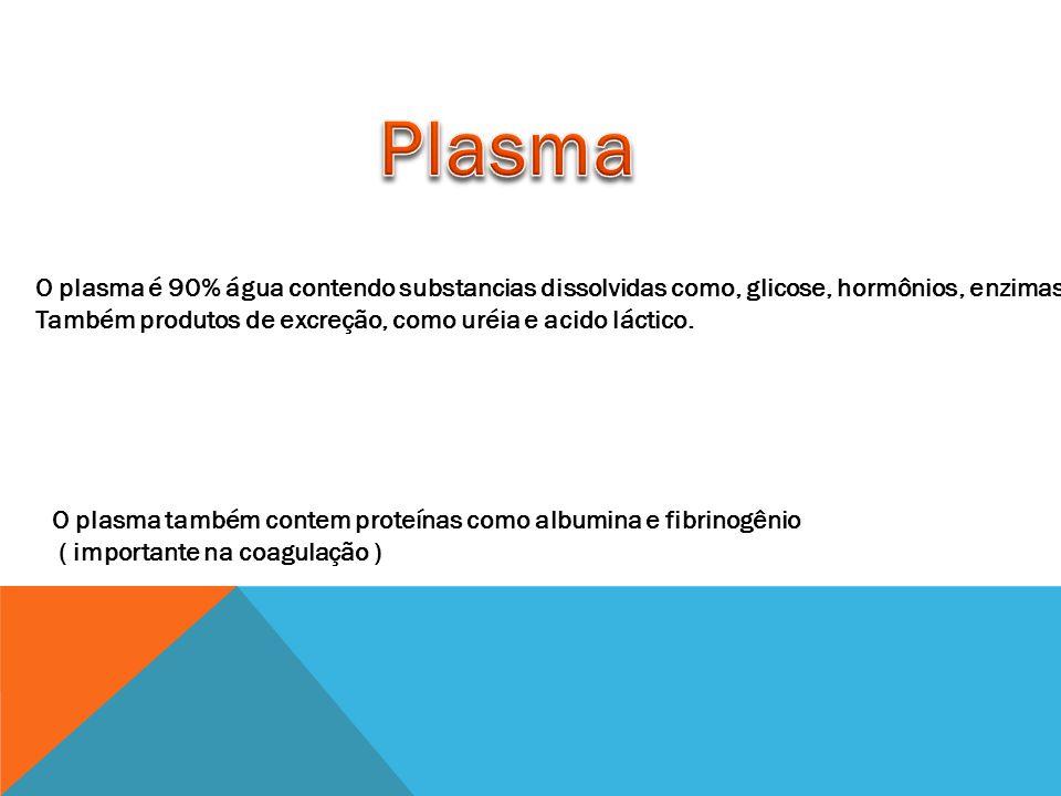 O plasma é 90% água contendo substancias dissolvidas como, glicose, hormônios, enzimas e Também produtos de excreção, como uréia e acido láctico.