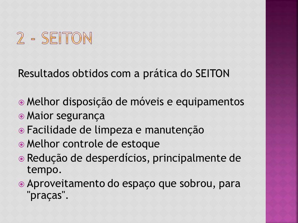 Resultados obtidos com a prática do SEITON  Melhor disposição de móveis e equipamentos  Maior segurança  Facilidade de limpeza e manutenção  Melhor controle de estoque  Redução de desperdícios, principalmente de tempo.