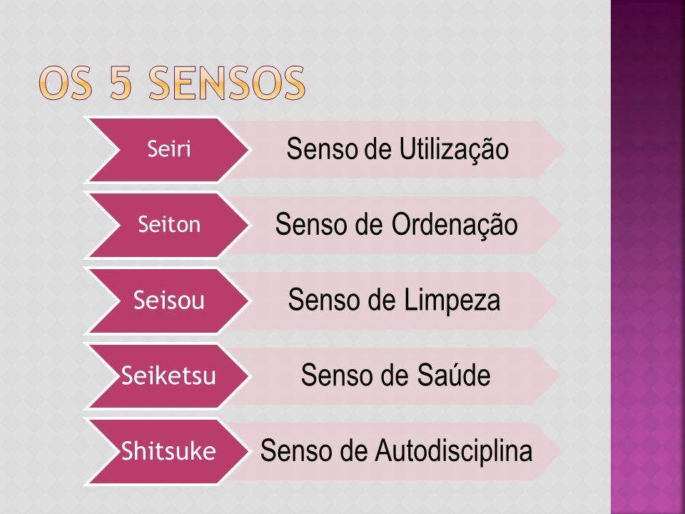 Seiri Senso de Utilização Seiton Senso de Ordenação Seisou Senso de Limpeza Seiketsu Senso de Saúde Shitsuke Senso de Autodisciplina