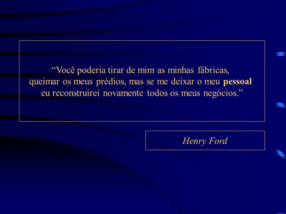 Você poderia tirar de mim as minhas fábricas, queimar os meus prédios, mas se me deixar o meu pessoal eu reconstruirei novamente todos os meus negócios. Henry Ford
