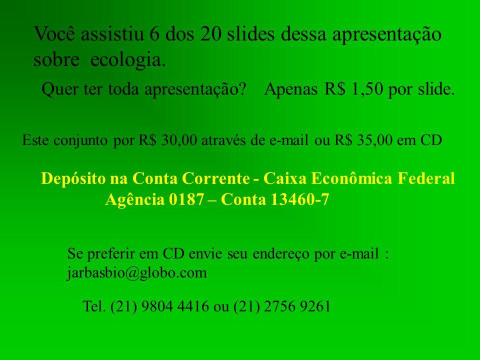 Você assistiu 6 dos 20 slides dessa apresentação sobre ecologia.