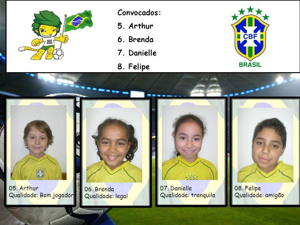 Convocados: 5.Arthur 6. Brenda 7. Danielle 8. Felipe 05.