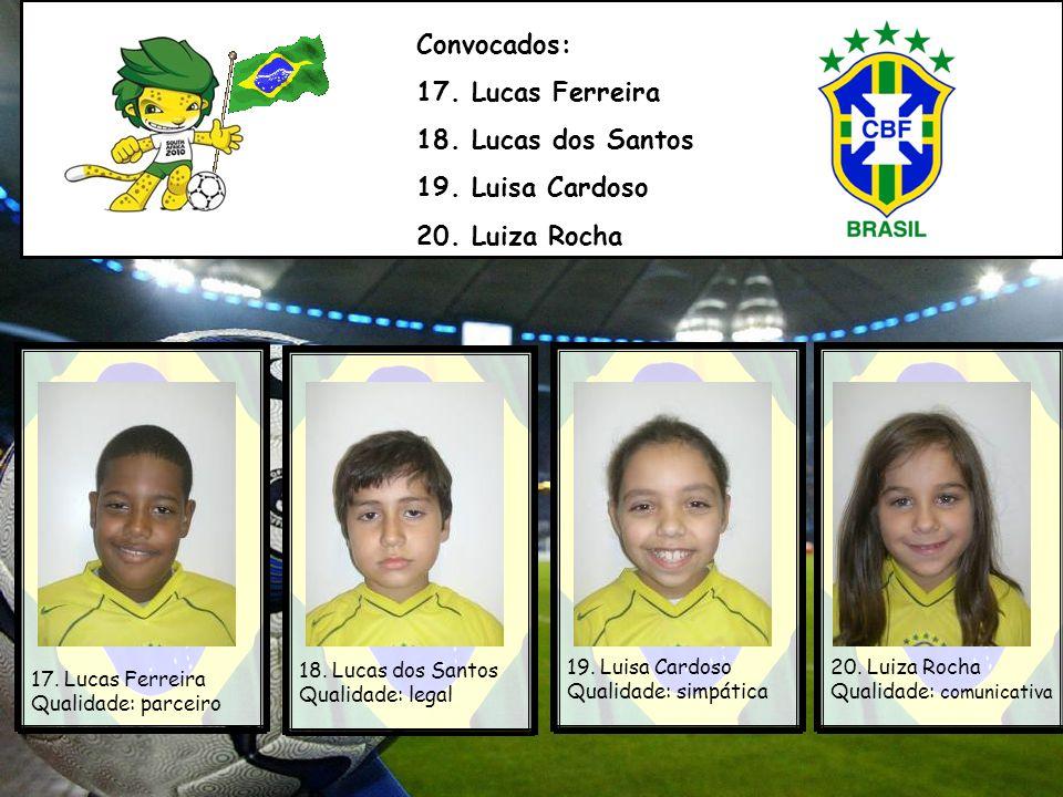 Convocados: 17.Lucas Ferreira 18. Lucas dos Santos 19.