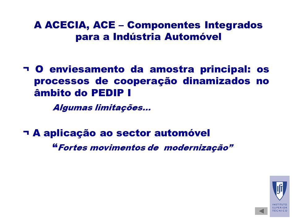 A ACECIA, ACE – Componentes Integrados para a Indústria Automóvel ¬ O enviesamento da amostra principal: os processos de cooperação dinamizados no âmbito do PEDIP I Algumas limitações...