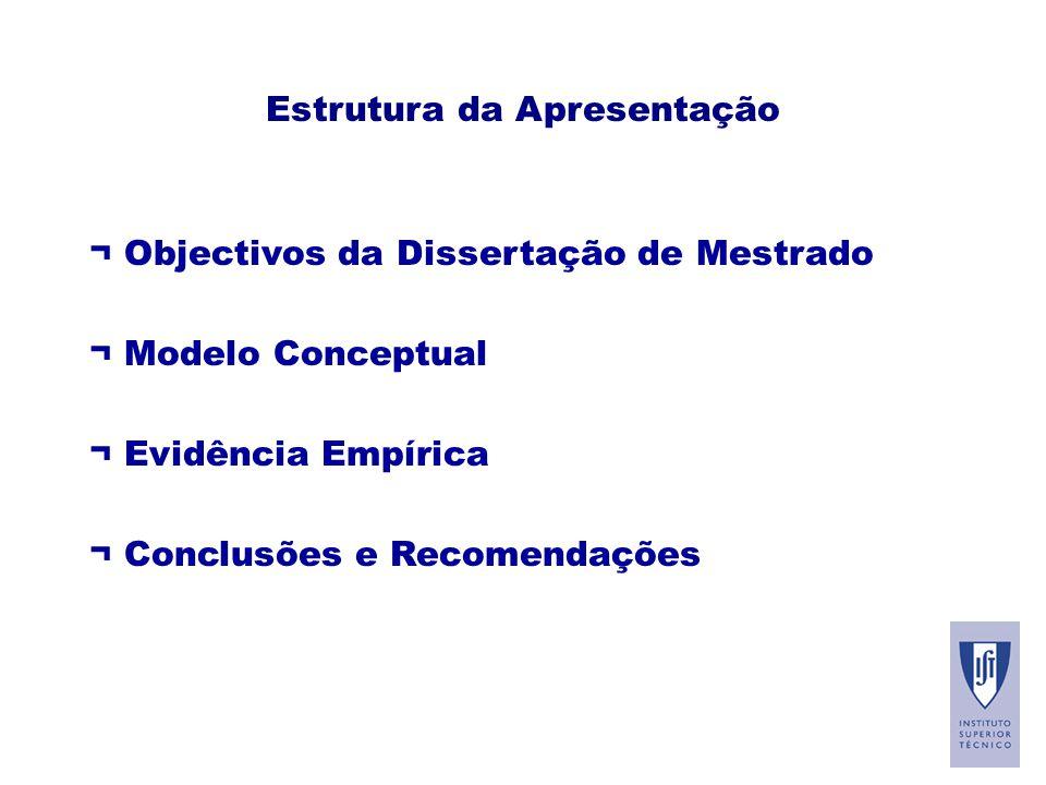 Estrutura da Apresentação ¬ Objectivos da Dissertação de Mestrado ¬ Modelo Conceptual ¬ Evidência Empírica ¬ Conclusões e Recomendações