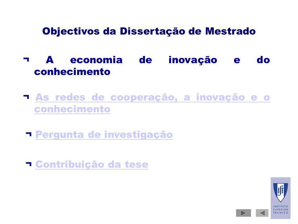 Objectivos da Dissertação de Mestrado ¬ A economia de inovação e do conhecimento ¬ As redes de cooperação, a inovação e o conhecimentoAs redes de cooperação, a inovação e o conhecimento ¬ Pergunta de investigação ¬ Contribuição da tese
