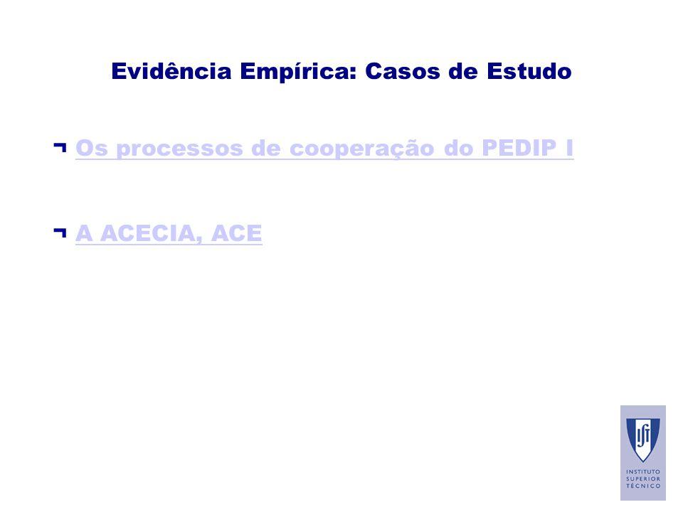 Evidência Empírica: Casos de Estudo ¬ Os processos de cooperação do PEDIP IOs processos de cooperação do PEDIP I ¬ A ACECIA, ACEA ACECIA, ACE