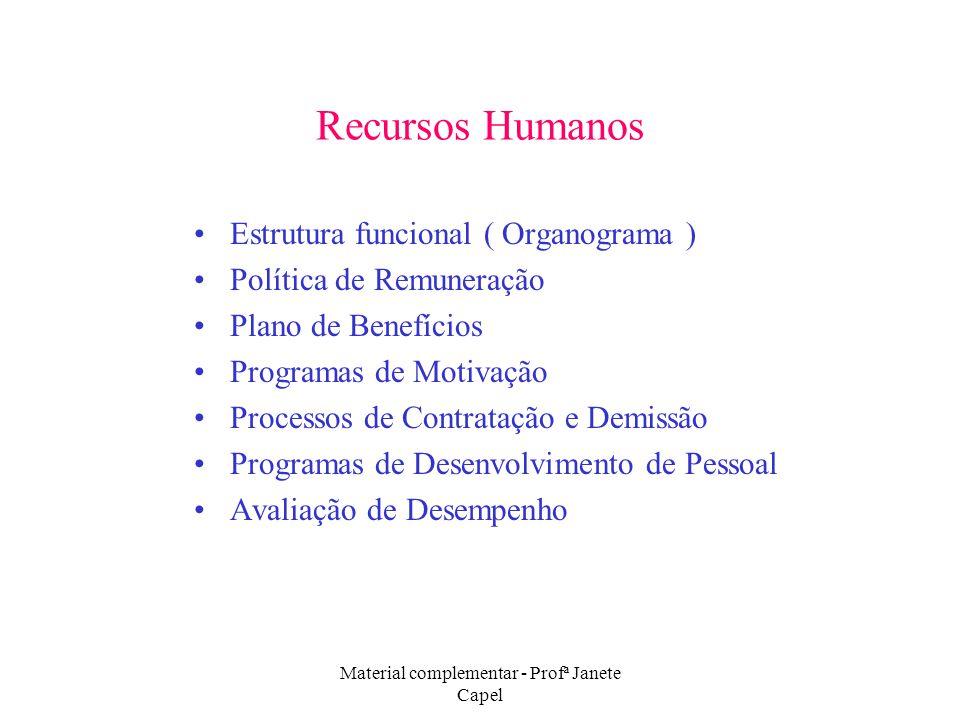 Material complementar - Profª Janete Capel Recursos Humanos Estrutura funcional ( Organograma ) Política de Remuneração Plano de Benefícios Programas