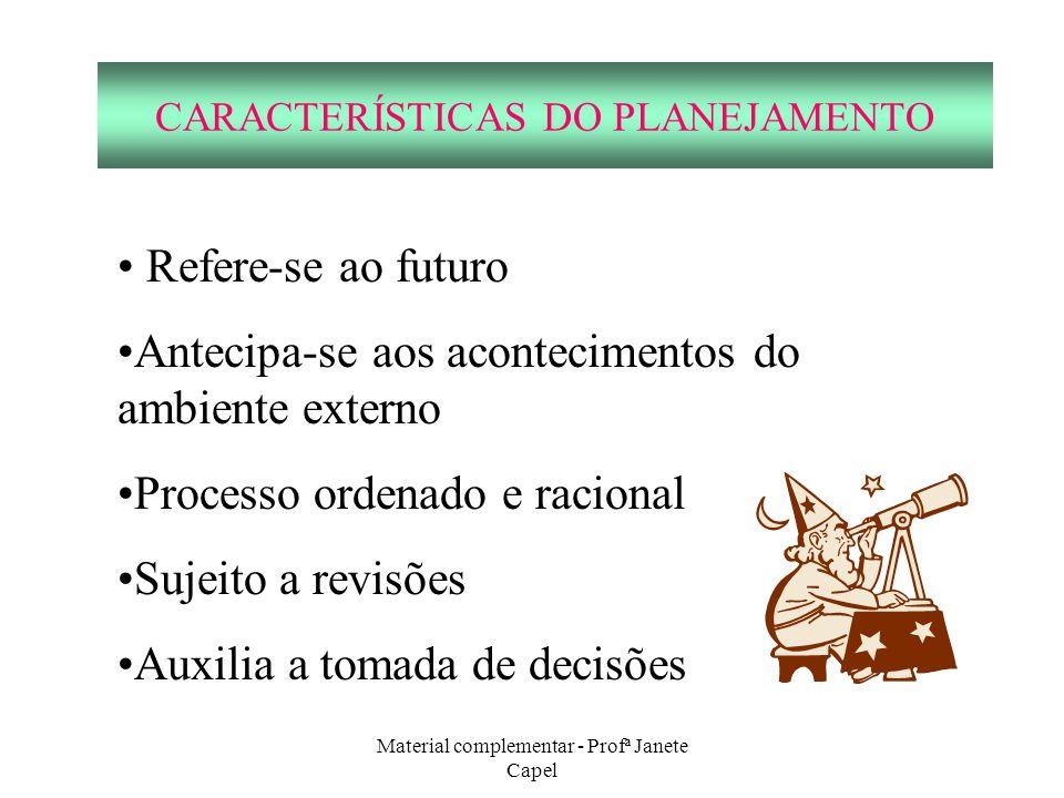Material complementar - Profª Janete Capel CARACTERÍSTICAS DO PLANEJAMENTO Refere-se ao futuro Antecipa-se aos acontecimentos do ambiente externo Proc