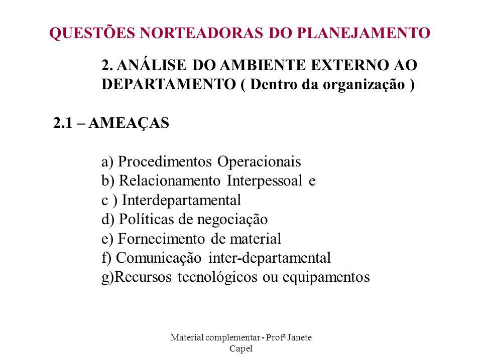 Material complementar - Profª Janete Capel QUESTÕES NORTEADORAS DO PLANEJAMENTO 2. ANÁLISE DO AMBIENTE EXTERNO AO DEPARTAMENTO ( Dentro da organização