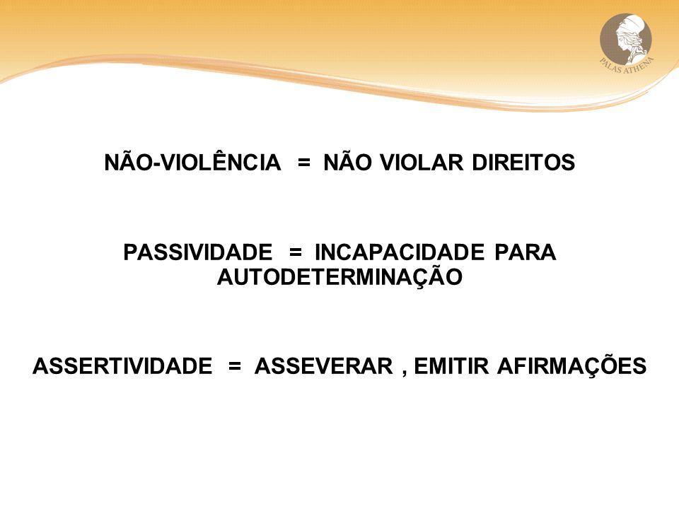 NÃO-VIOLÊNCIA = NÃO VIOLAR DIREITOS PASSIVIDADE = INCAPACIDADE PARA AUTODETERMINAÇÃO ASSERTIVIDADE = ASSEVERAR, EMITIR AFIRMAÇÕES