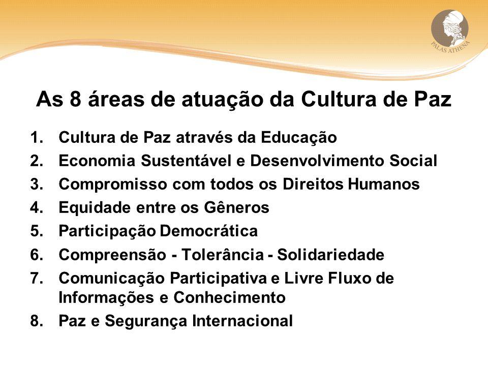 As 8 áreas de atuação da Cultura de Paz 1.Cultura de Paz através da Educação 2.Economia Sustentável e Desenvolvimento Social 3.Compromisso com todos os Direitos Humanos 4.Equidade entre os Gêneros 5.Participação Democrática 6.Compreensão - Tolerância - Solidariedade 7.Comunicação Participativa e Livre Fluxo de Informações e Conhecimento 8.Paz e Segurança Internacional
