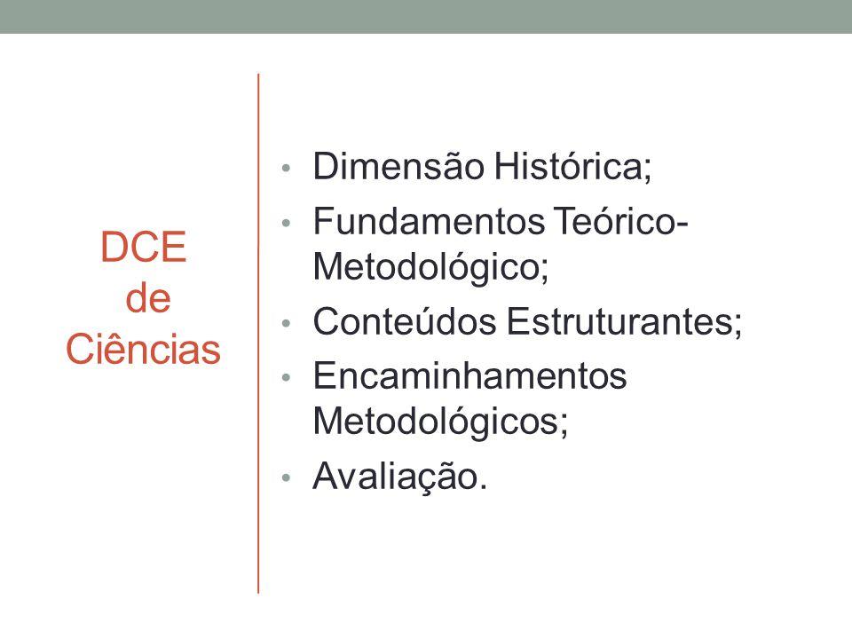 DCE de Ciências Dimensão Histórica; Fundamentos Teórico- Metodológico; Conteúdos Estruturantes; Encaminhamentos Metodológicos; Avaliação.