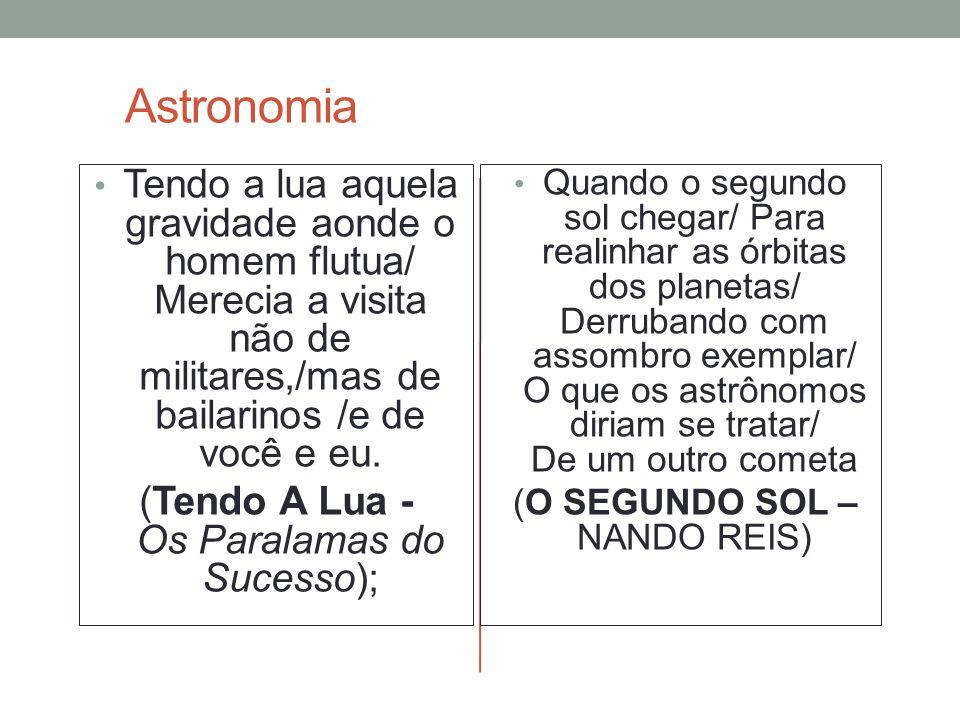 Astronomia Tendo a lua aquela gravidade aonde o homem flutua/ Merecia a visita não de militares,/mas de bailarinos /e de você e eu. (Tendo A Lua - Os